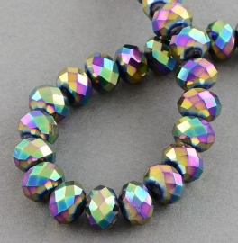 Faceted Rondelles 6 x 8 mm Multicolor Plated F998 (per 71 beads)