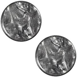 Polaris Cabochon Munt Plat 12 mm Jais Antracite Grey (per stuk)