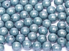 Druk Beads 4 mm Chalk White Baby Blue Luster (per 50)