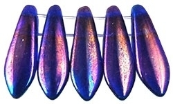 CzechMates Two Hole Daggers 5/16mm Luster Iris - Cobalt (per 14)