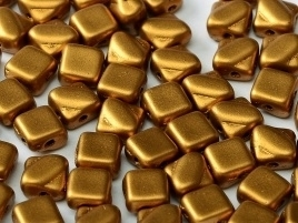 Silky Beads 2-Hole 6 x 6 mm Brass Gold (per 18)
