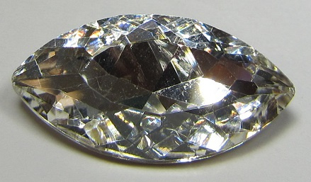 Glas Navette 17 x 32 mm Crystal (per stuk)