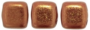 CzechMates Tiles Bronze Luster Iris - Opaque Red (per 10)