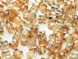 Diabolo Beads 4 x 6 mm Crystal Brown Rainbow (per 32)