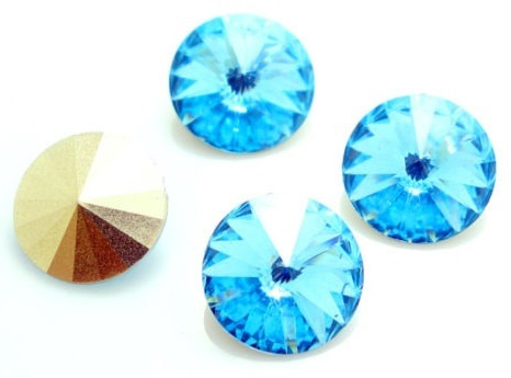 Resin Rivoli 10 mm Aquamarine (per 4)