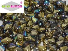 Spiky Button 4,5 x 6,5 mm Crystal Golden Rainbow (per 25)
