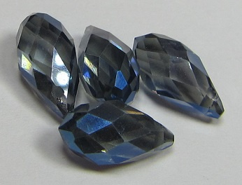 Faceted Drops 12 x 6 mm Dull Blue Plated (per 4 beads)
