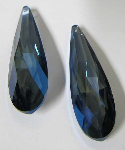 Glas Druppel 75 x 21 mm Dull Blue Plated (per stuk)
