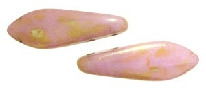 CzechMates Two Hole Daggers 5/16mm Luster - Opaque Rose/Gold Topaz (per 8)