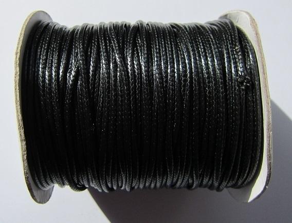 Waxed Cord 2 mm Black W033 (1 meter)