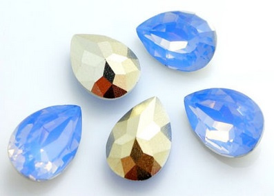 Resin Drop 10 x 14 mm Grey Sapphire Opal (per 3)