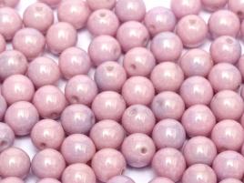 Druk Beads 8 mm Chalk White Lila Luster (per 10)