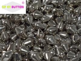 Spiky Button 4,5 x 6,5 mm Jet Argentic Full (per 25)