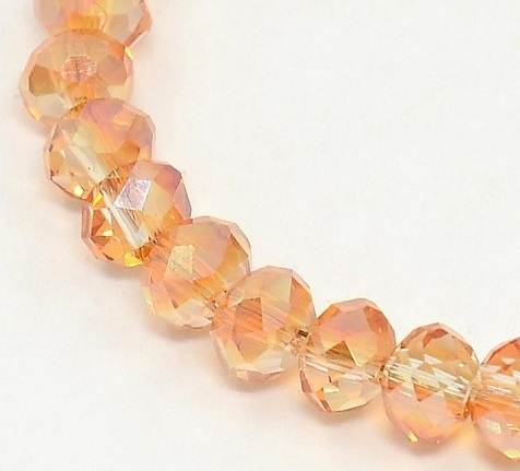 Faceted Rondelles 3 x 4 mm Half Plated Orange F792 (per 148 beads)