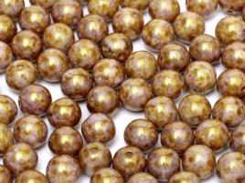 Druk Beads 4 mm Chalk White Lila Gold Luster (per 50)