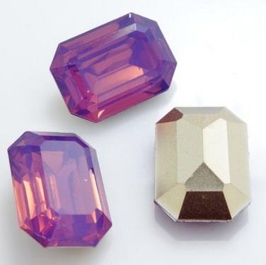 Resin Rechthoek 13 x 18 mm Cyclamen Opal (per 2)