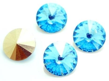 Resin Rivoli 12 mm Aquamarine (per 3)