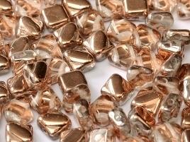 Silky Beads 2-Hole 6 x 6 mm Crystal Capri Gold (per 16)