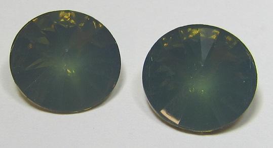 Resin Rivoli 14 mm Dark Army Green Opal (per 2)