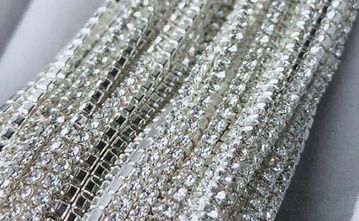 Cup Chain SS4 1,5 mm Silver - Crystal (per 50 cm)