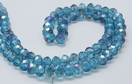 Faceted Rondelles 3 x 4 mm Capri Blue Purple Plated F914 (per 148 beads)