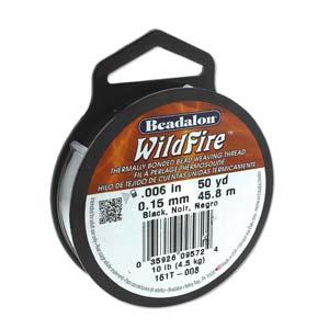 "Beadalon Wildfire Black (0.006"") 0,15 mm (per rol van 45 meter)"