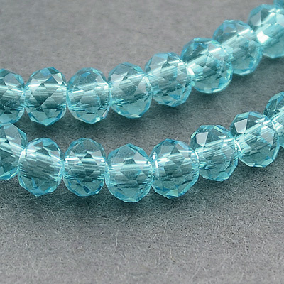 Faceted Rondelles 2 x 3 mm Aqua F1290 (per 148 beads)