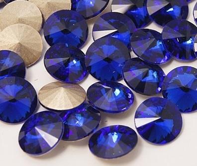 Glass Rivoli 8 mm SS39 Cobalt (per 3)