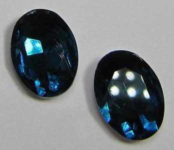 Glass Oval 10 x 14 mm Petrol (per 2)