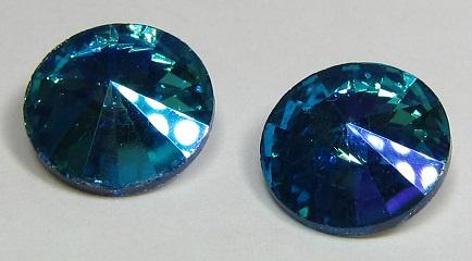 Glass Rivoli 12 mm Aqua Purple Plated (per 1)