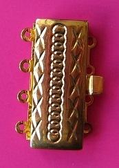 Box Clasp Stripe 4 Strands S426 G (per 1)