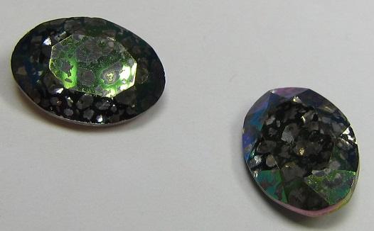 Glas Ovaal 10 x 14 mm Crystal Green Patina (per stuk)
