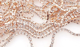 Cup Chain SS6 2 mm Champagne - Crystal (per 50 cm)