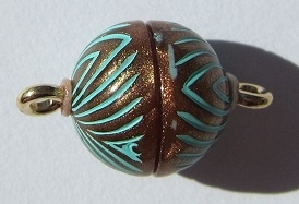 Magnetic Clasp Acrylic Copper Patina 10 mm S567 (per 1)