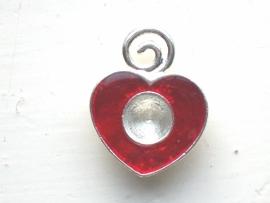 090007 Expoxy hart  rood met ruimte voor een similisteen 8 mm