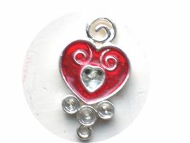 090008 Hart zilver versierd met rood expoxy  hanger of tussenzetsel