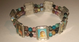 210177 Religieuze afbeeldingen armband elastisch met natuursteen en zilver