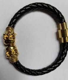 Skelet goud/zwart armband