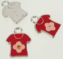 090613 Metaal hanger t-shirt met epoxy en kastje voor 1mm similisteen rond ± 20x16mm (Rood/Roze)