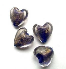 110358 Glas hart foliekraal hart kobaltblauw/goud 2 cm