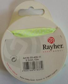 Lint, licht groen/wit, breedte 9,5 mm