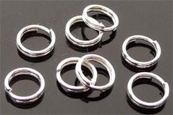090984 Metalen dubbel ringetje rond ± 6mm (Silver Plated) 50 stuks in zakje