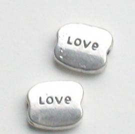 """090996 kraal rechthoek tekst """"love"""" zilverkleur 10 mm x 8 mm"""