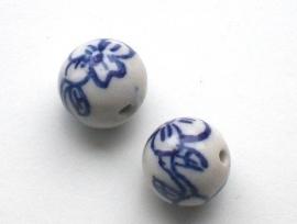 070049 keramiek delfts blauw bloem 12 mm