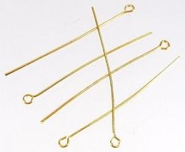 090582 Metalen kettelstiftgoud  ± 70mm (± 0,8mm dik) 50 stuks