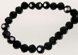 110256 Glaskralen kristal rond facet geslepen ± 6mm (Jet (zwart)) 25 stuks