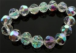 110300 Glaskralen kristal rond facet geslepen met mooie glans ± 8mm (Kristal AB)