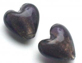 110366 Glas hart foliekraal hart paars/goud 2 cm