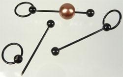 090563 Metaal hanger/nietstift met afhaalbare bol ± 48x13mm (Zwart)