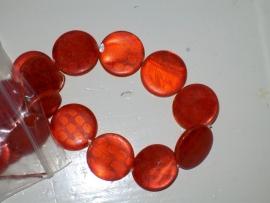 Parelmoer kraal plat rond duo kleur ± 20mm